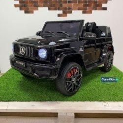 Электромобиль Mercedes-Benz G63 AMG o777oo черный (колеса резина, кресло кожа, пульт, музыка)