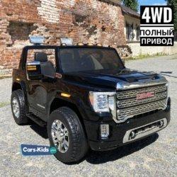 Детский электромобиль GMC Sierra Denali 4WD 12V - BLACK - HL368  (2х местный, колеса резина, кресло кожа, пульт, музыка)